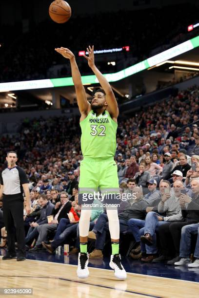 KarlAnthony Towns of the Minnesota Timberwolves shoots the ball during the game against the Chicago Bulls on February 24 2018 at Target Center in...