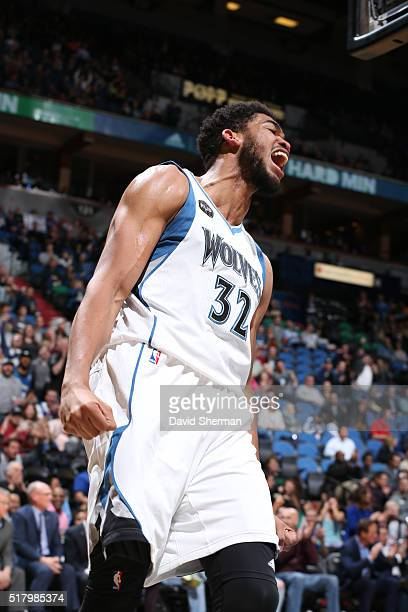 KarlAnthony Towns of the Minnesota Timberwolves shows emotion during the game against the Sacramento Kings on March 23 2016 at Target Center in...