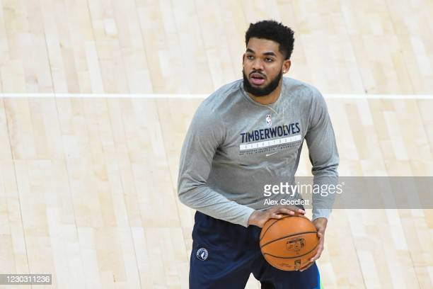Karl-Anthony Towns of the Minnesota Timberwolves warms before a game against the Utah Jazz at Vivint Smart Home Arena on December 26, 2020 in Salt...