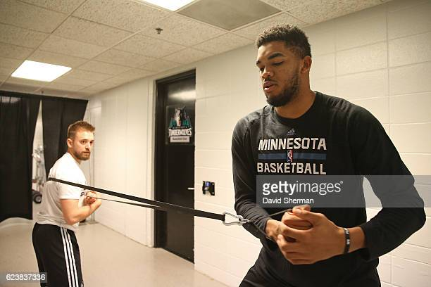 KarlAnthony Towns of the Minnesota Timberwolves works out before a game with strength coach David Crewe on November 15 2016 at the Target Center in...