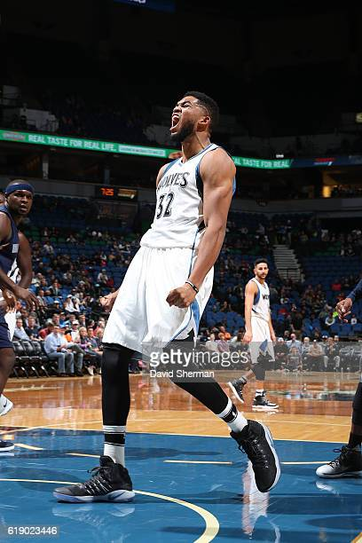 KarlAnthony Towns of the Minnesota Timberwolves yells and celebartes during an NBA preseason game against the Memphis Grizzlies on October 19 2016 at...