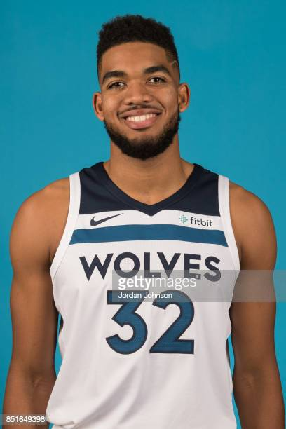 KarlAnthony Towns poses for a portrait during 2017 Media Day on September 22 2017 at the Minnesota Timberwolves and Lynx Courts at Mayo Clinic Square...
