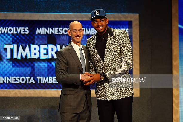 Karl-Anthony Towns poses with Commissioner Adam Silver after being drafted first overall by the Minnesota Timberwolves in the First Round of the 2015...