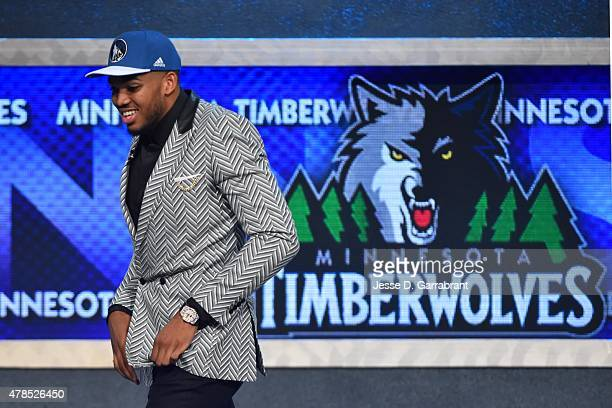KarlAnthony Towns the pick overall in the 2015 NBA Draft by the Minnesota Timberwolves during the 2015 NBA Draft at the Barclays Center on June 25...
