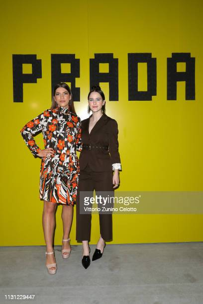Karlee Fomalont and Rachel Brosnahan attend the Prada Show during Milan Fashion Week Fall/Winter 2019/20 on February 21 2019 in Milan Italy
