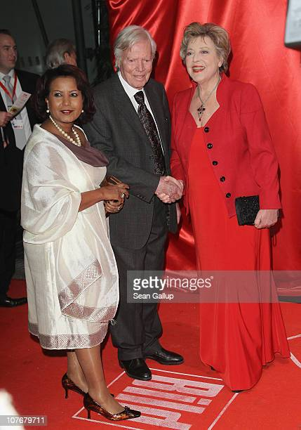 Karlheinz Boehm his wife Almaz Boehm and actress MarieLuise Marjan attend the 'Ein Herz Fuer Kinder' charity gala at Axel Springer Haus on December...