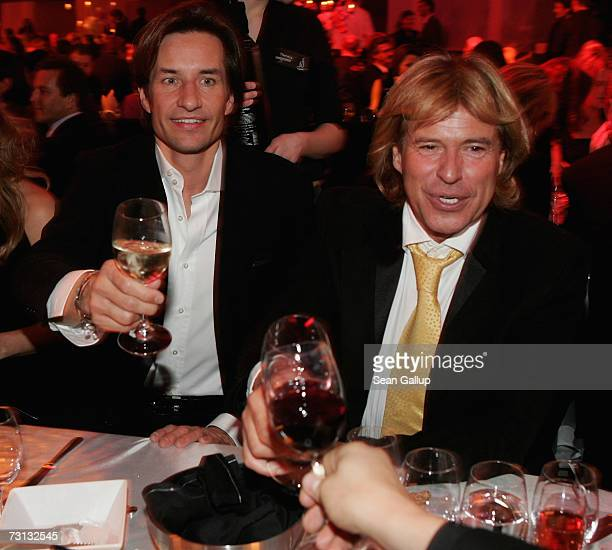 Karl-Heinz Grasser and Hansi Hinterseer attend the Kitz Race Party after the Hahnenkamm slalom races January 27, 2007 in Kitzbuehel, Austria.