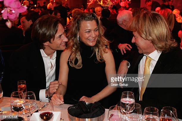 Karl-Heinz Grasser , Romana Hinterseer and Hansi Hinterseer attend the Kitz Race Party after the Hahnenkamm slalom races January 27, 2007 in...