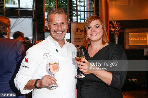 Karlheinz Hauser and Katharina Fegebank attend the 'Nacht der Medien' on August 29 2014 in Hamburg Germany