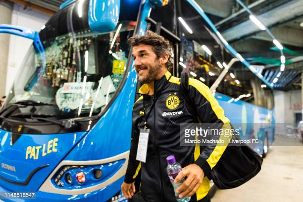 KarlHeinz Riedle of Borussia Dortmund on his arrival at Hong Kong Stadium ahead of the match between Liverpool FC Legend and Borussia Dortmund Legend...