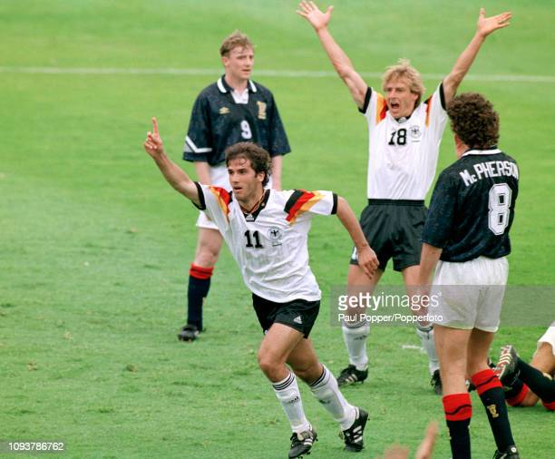 KarlHeinz Riedle of Germany celebrates after scoring during the UEFA Euro 1992 Group 2 match between Scotland and Germany at the Idrottsparken on...