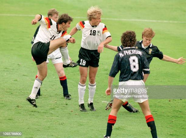 KarlHeinz Riedle of Germany scores during the UEFA Euro 1992 Group 2 match between Scotland and Germany at the Idrottsparken on June 15 1992 in...