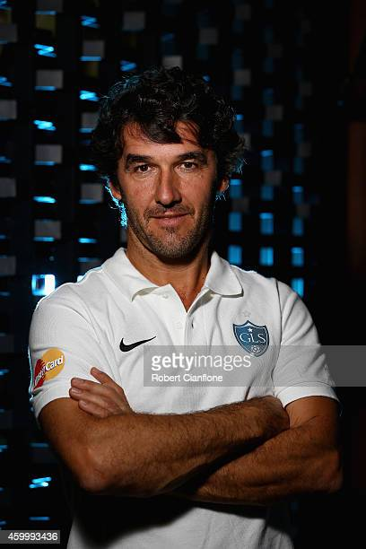 KarlHeinz Riedle poses during a Global Legends Series portrait session at the Swissotel on December 5 2014 in Bangkok Thailand