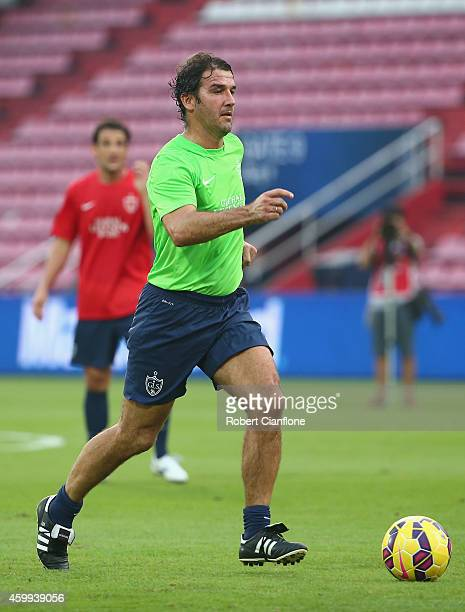 KarlHeinz Riedle runs with the ball during a training session in the lead up to the the Global Legends Series at the SCG Stadium on December 4 2014...