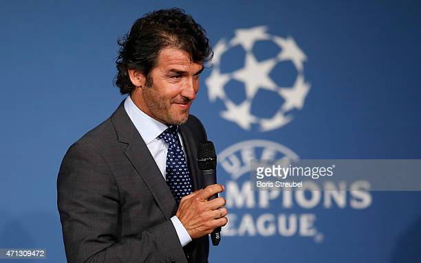 KarlHeinz Riedle UEFA Champions League final ambassador looks on during the UEFA Champions League Trophy handover ceremony at Rote Rathaus on April...