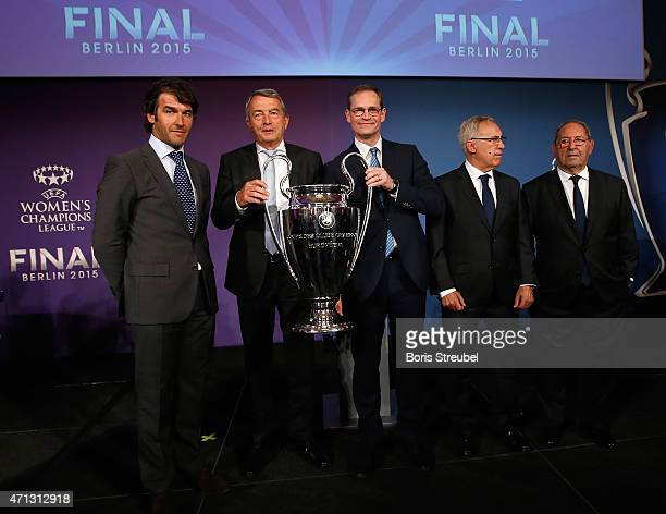 KarlHeinz Riedle UEFA Champions League final ambassador Wolfgang Niersbach president of German Football Association and UEFA Committee member Michael...
