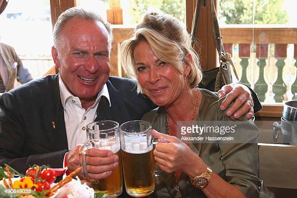 KarlHeinz Rummeingge CEO of FC Bayern Muenchen attends with his wife Martina Rummenigge the Oktoberfest 2015 Beerfestival at Kaefer Wiesenschaenke at...