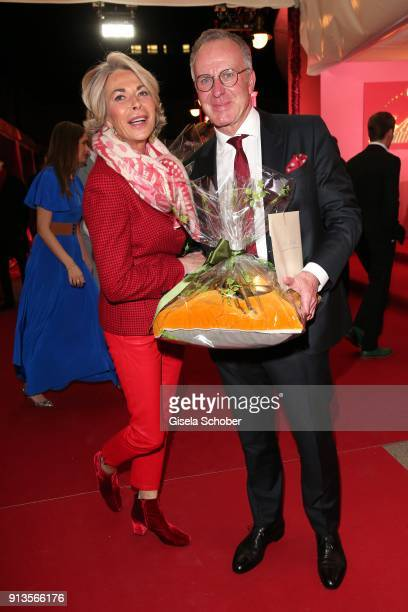 KarlHeinz Rummenigge and his wife Martina Rummenigge during Michael Kaefer's 60th birthday celebration at Postpalast on February 2 2018 in Munich...
