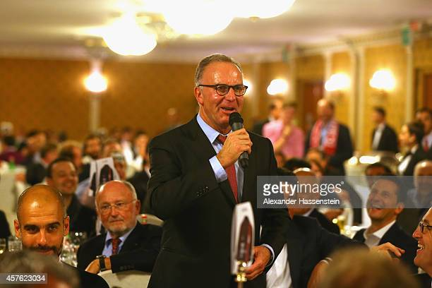 KarlHeinz Rummenigge CEO of Bayern Muenchen AG speaks at the FC Bayern Muenchen Champions Banquet at their team Hotel Parco Dei Principi after...