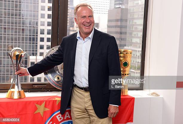 KarlHeinz Rummenigge CEO of Bayern Muenchen is seen in the new Bayern Muenchen office during day three of the Audi Summer Tour USA 2014 on August 1...