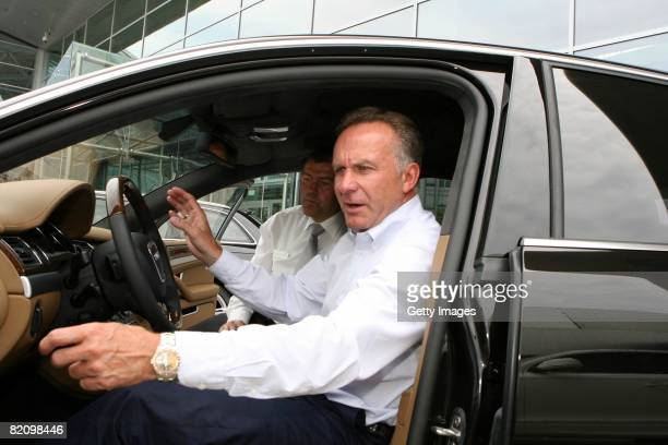 KarlHeinz Rummenigge CEO of Bayern Muenchen sits in a car during the presentation of Bayern Muenchen's new cars made by Audi on July 29 2008 in...