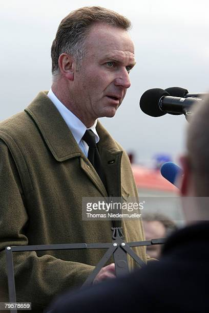 KarlHeinz Rummenigge CEO of Bayern Munich holds a speech at the 50th anniversary to commerate the Munich air disaster on February 6 2008 in...