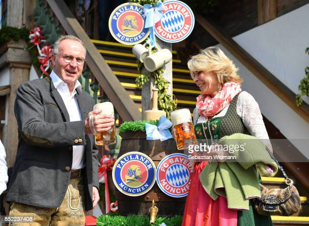 KarlHeinz Rummenigge CEO of FC Bayern Muenchen and his wife Martina attend the Oktoberfest beer festival at Kaefer Wiesnschaenke tent at...