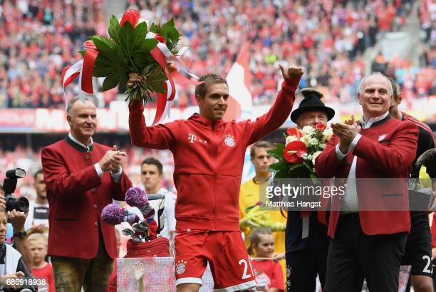KarlHeinz Rummenigge CEO of FC Bayern Muenchen and Uli Hoeness President of FC Bayern Muenchen applaudes to Philipp Lahm during his farewell ceremony...