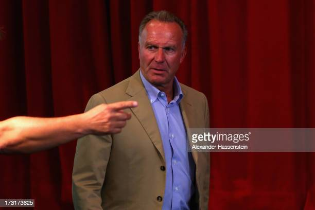 KarlHeinz Rummenigge CEO of FC Bayern Muenchen arrives for a press conference at Centro Congressi on July 9 2013 in Riva del Garda Italy