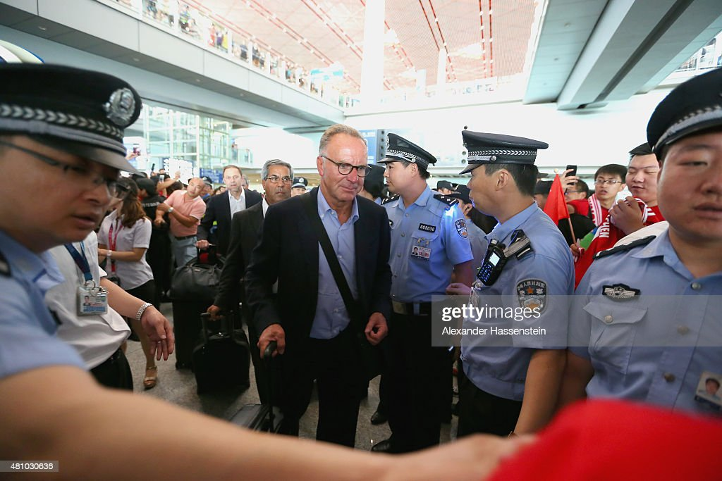 Karl-Heinz Rummenigge, CEO of FC Bayern Muenchen arrives with the team at Beijing Capital Airport for the FC Bayern Audi China Summer Pre-Season Tour on July 17, 2015 in Beijing, China.