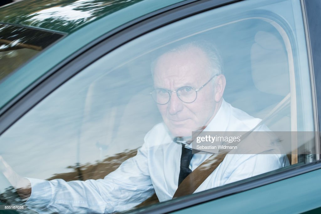 Karl-Heinz Rummenigge, CEO of FC Bayern Muenchen is leaving the Saebener Strasse training ground on September 28, 2017 in Munich, Germany. FC Bayern Muenchen has sacked head coach Carlo Ancelotti after the 3 - 0 defeat in last night's UEFA Champions League match against Paris Saint-Germain.