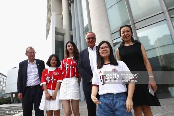 KarlHeinz Rummenigge CEO of FC Bayern Muenchen meets Professor Wu Jiang executive vice president of the Tongji Universiity Shanghai at Tongji...