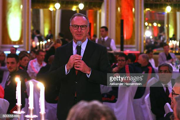 KarlHeinz Rummenigge CEO of FC Bayern Muenchen speaks at the Champions Banquet after the UEFA Champions League Group F match between GNK Dinamo...