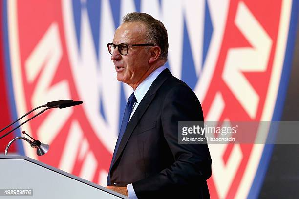 KarlHeinz Rummenigge CEO of FC Bayern Muenchen speaks during the FC Bayern Muenchen annual general meeting at Audi Dome on November 27 2015 in Munich...