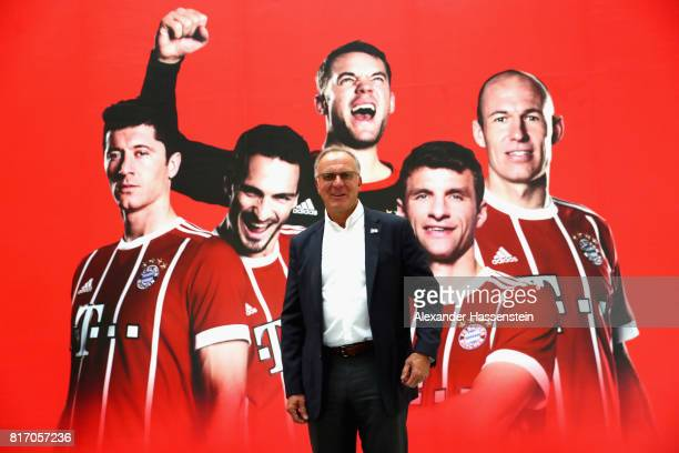 KarlHeinz Rummenigge CEO of FC Bayern Muenchen visits the FC Bayern Muenchen Co Ltd Office at German Center for Industry and Trade in Shanghai during...
