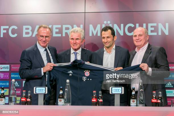 KarlHeinz Rummenigge Jupp Heynckes Hasan Salihamidzic and Uli Hoeness speak to the media during a Bayern Muenchen press conference at the Alianz...