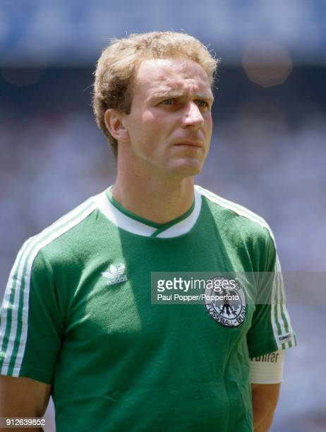 Karl-Heinz Rummenigge lines up for West Germany before the FIFA World Cup Final between Argentina and West Germany at the Estadio Azteca, in Mexico...