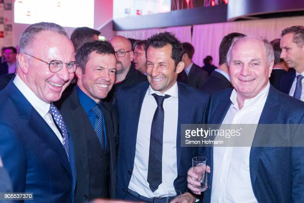 KarlHeinz Rummenigge Lothar Matthaeus Hasan Salihamidzic and Uli Hoeness attend the 2018 DFL New Year Reception at Thurn Taxis Palais on January 16...