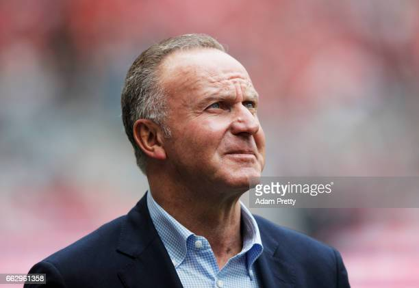 KarlHeinz Rummenigge of Bayern Munich during the Bundesliga match between Bayern Muenchen and FC Augsburg at Allianz Arena on April 1 2017 in Munich...