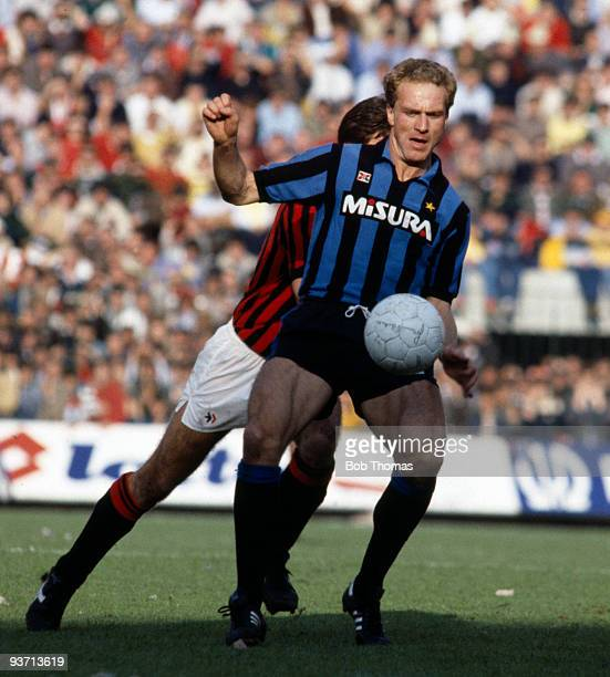 KarlHeinz Rummenigge of Inter Milan during the Inter Milan v AC Milan Italian League match held at San Siro Stadium in Milan on the 28th October 1984...