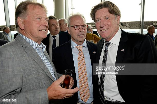 KarlHeinz Thielen Bernhard Dietz and Toni Schumacher attend the official reception for the United States Soccer Federation at KoelnSky Lounge on June...
