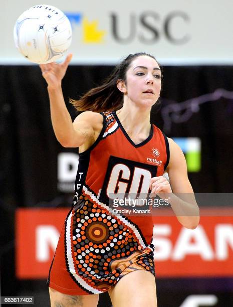 Karli Foster of the Storm passes the ball during the round seven Australian Netball League match between the Storm and the Waratahs at University of...
