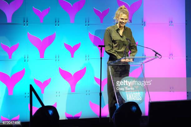 Karlie Kloss accepts an award at The 9th Annual Shorty Awards on April 23 2017 in New York City