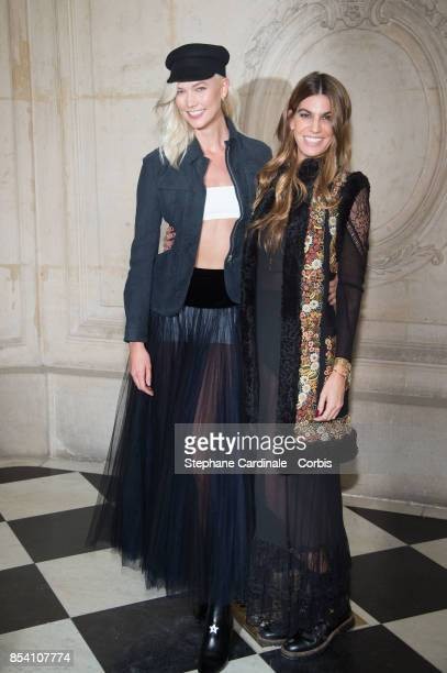 Karlie Kloss and Bianca Brandolini d'Adda attend the Christian Dior show as part of the Paris Fashion Week Womenswear Spring/Summer 2018 at on...