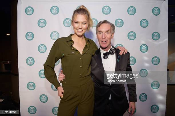 Karlie Kloss and Bill Nye pose backstage at the The 9th Annual Shorty Awards on April 23 2017 in New York City