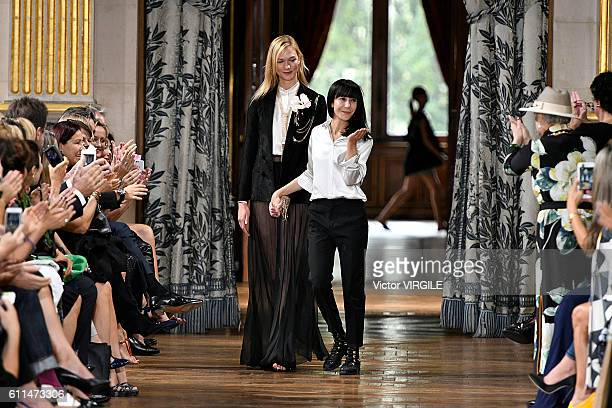 Karlie Kloss and Bouchra Jarrar walks the runway during the Lanvin Ready to Wear fashion show as part of the Paris Fashion Week Womenswear...