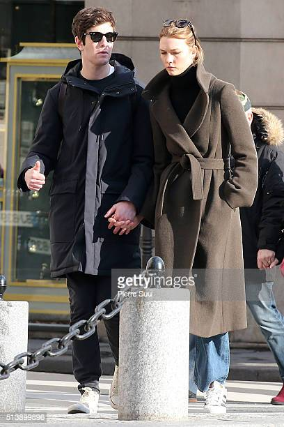 Karlie Kloss and boyfriend Joshua Kushner walk in the street of Paris on March 5 2016 in Paris France