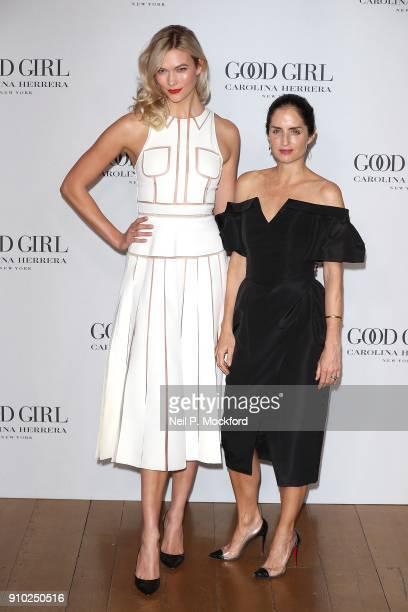 Karlie Kloss and Carolina Herrera De Baez attend the Carolina Herrera fragrance launch of 'Good Girl' at 1 Horse Guards Avenue on January 25 2018 in...