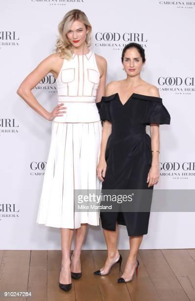 Karlie Kloss and Carolina Herrera De Baez attends the 'Good Girl' fragrance launch by Carolina Herrera at 1 Horse Guards Avenue on January 25 2018 in...