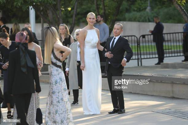 Karlie Kloss and Jason Wu arrive for the 2018 CFDA Fashion Awards at Brooklyn Museum on June 4 2018 in New York City